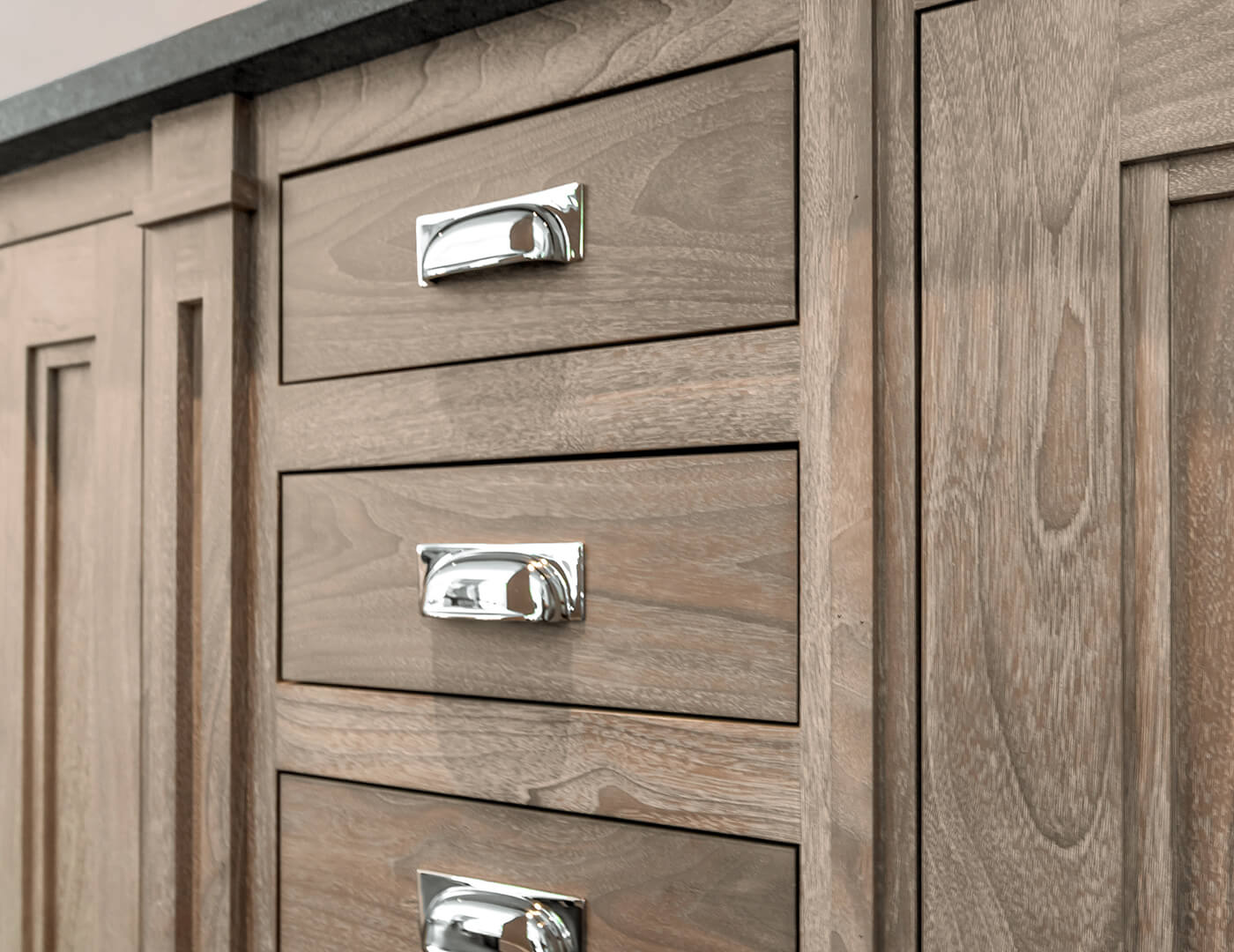 Walnut cabinets with meridian profile and polished nickel finishes