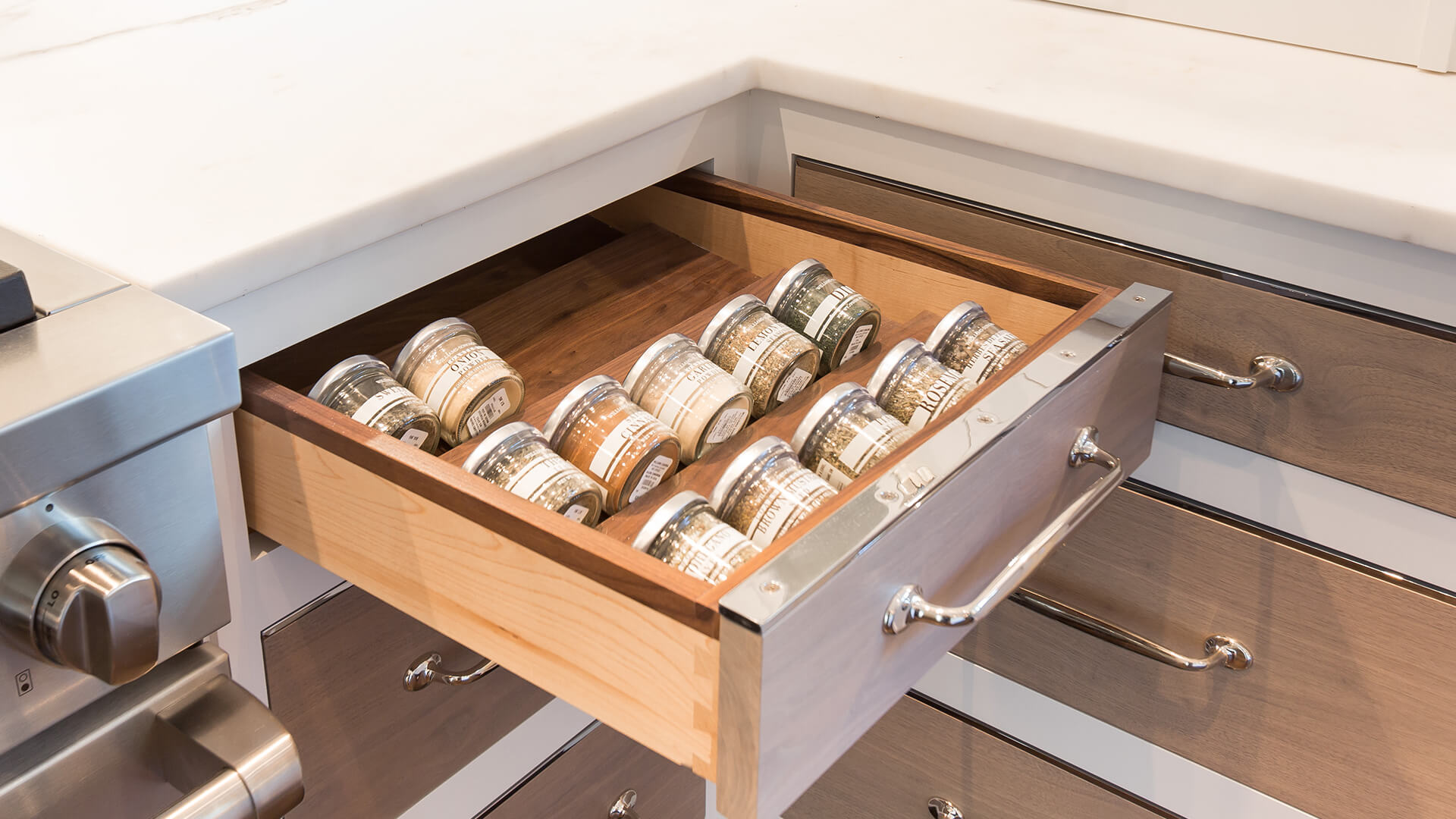 polished nickel drawer capping