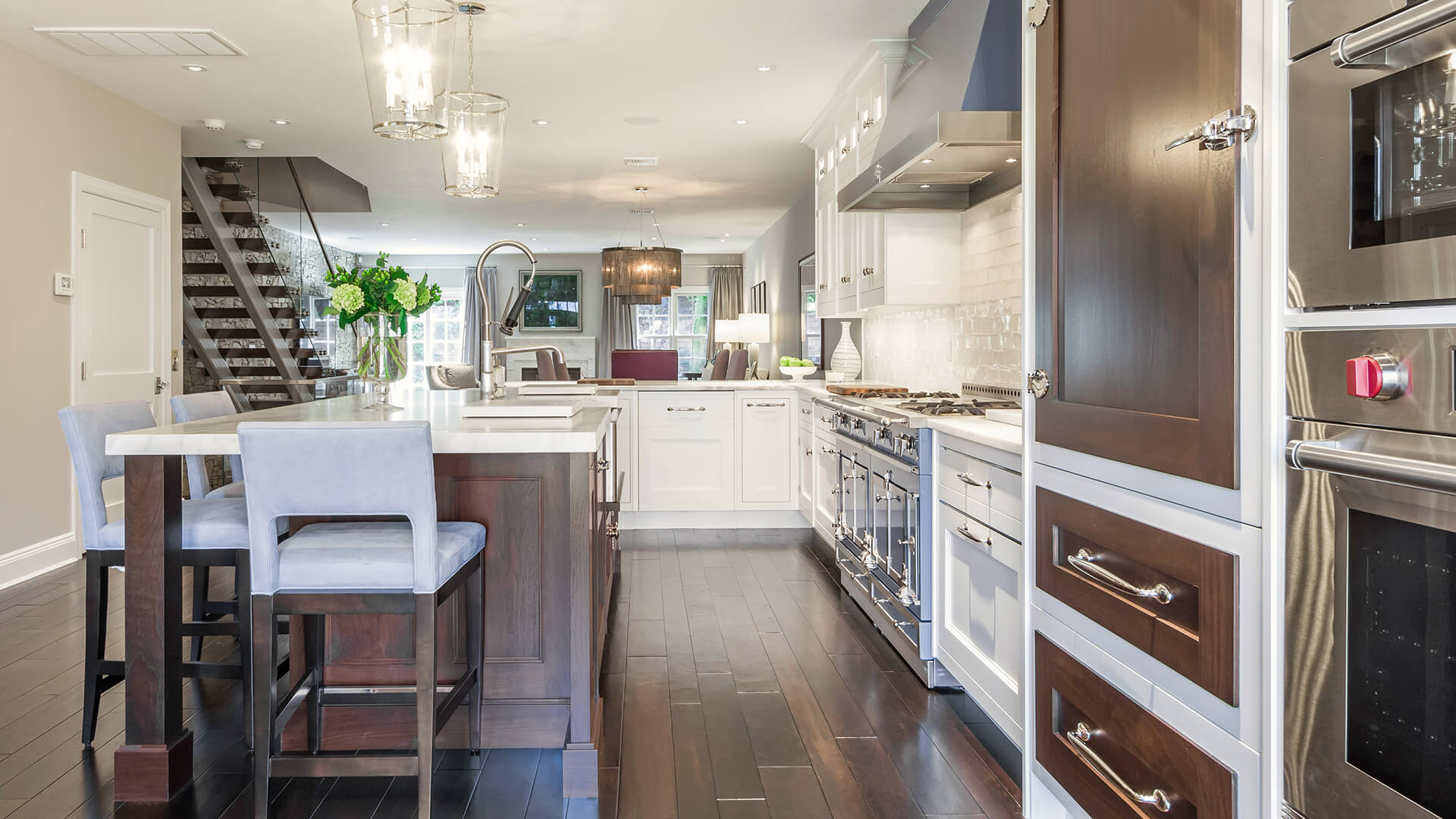 Bakes and Kropp Walnut panels, nickel finishes, and elegant meridian crown molding
