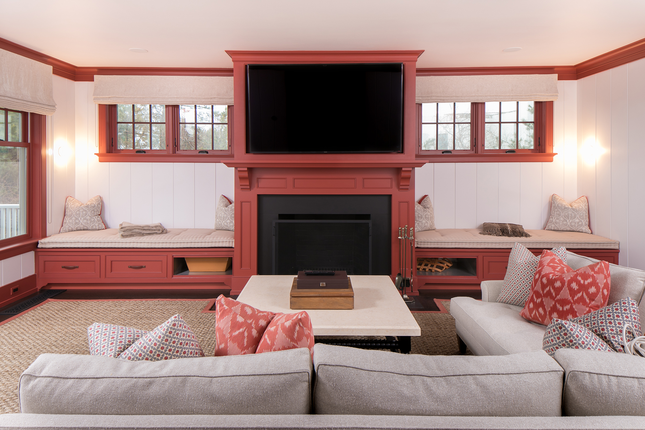 South Hamptons Entertainment center with Custom cabinets