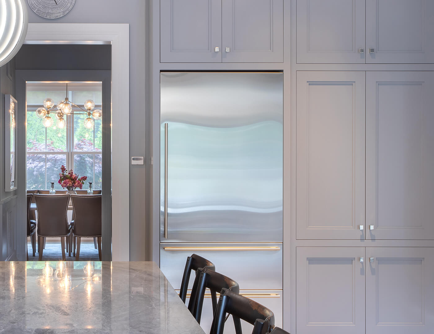 signature hand-painted gray cabinets, elevated kitchen design,& sophisticated custom cabinetry and finishes