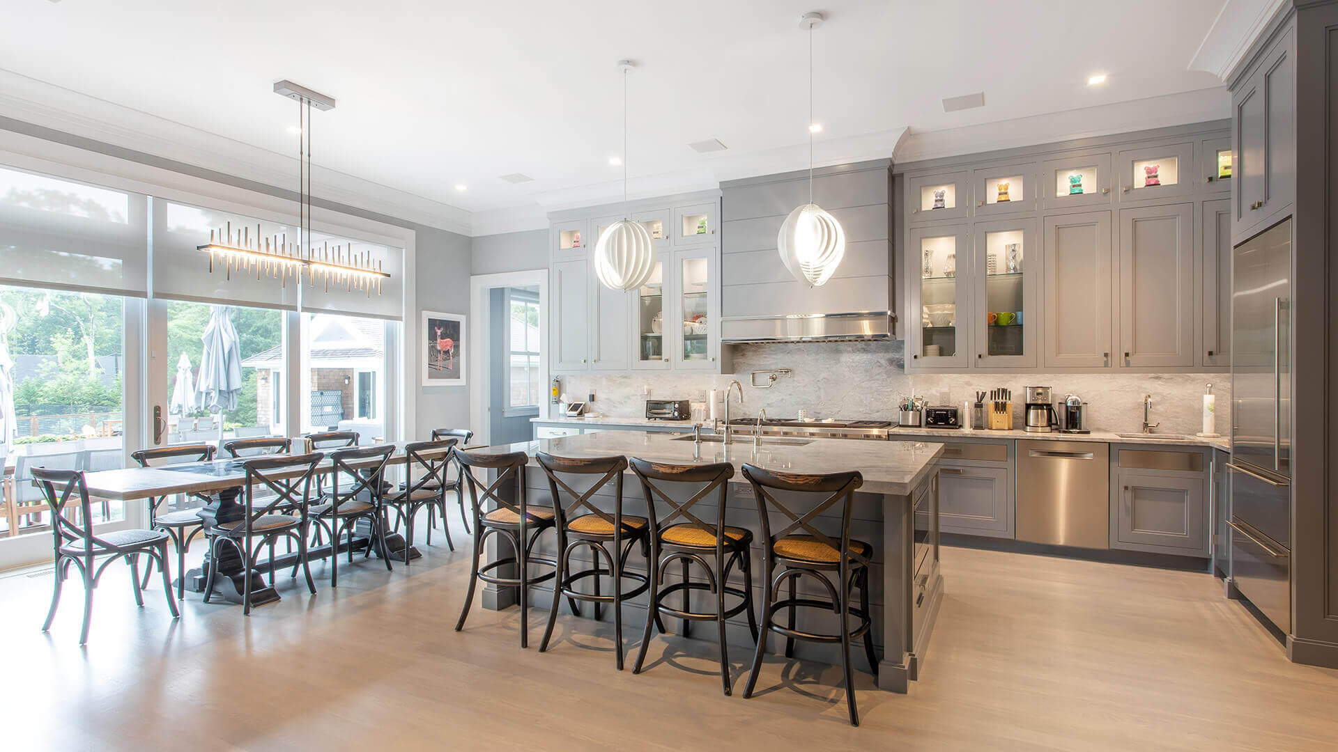 signature hand-painted gray cabinets, elevated kitchen design,& sophisticated custom finishes