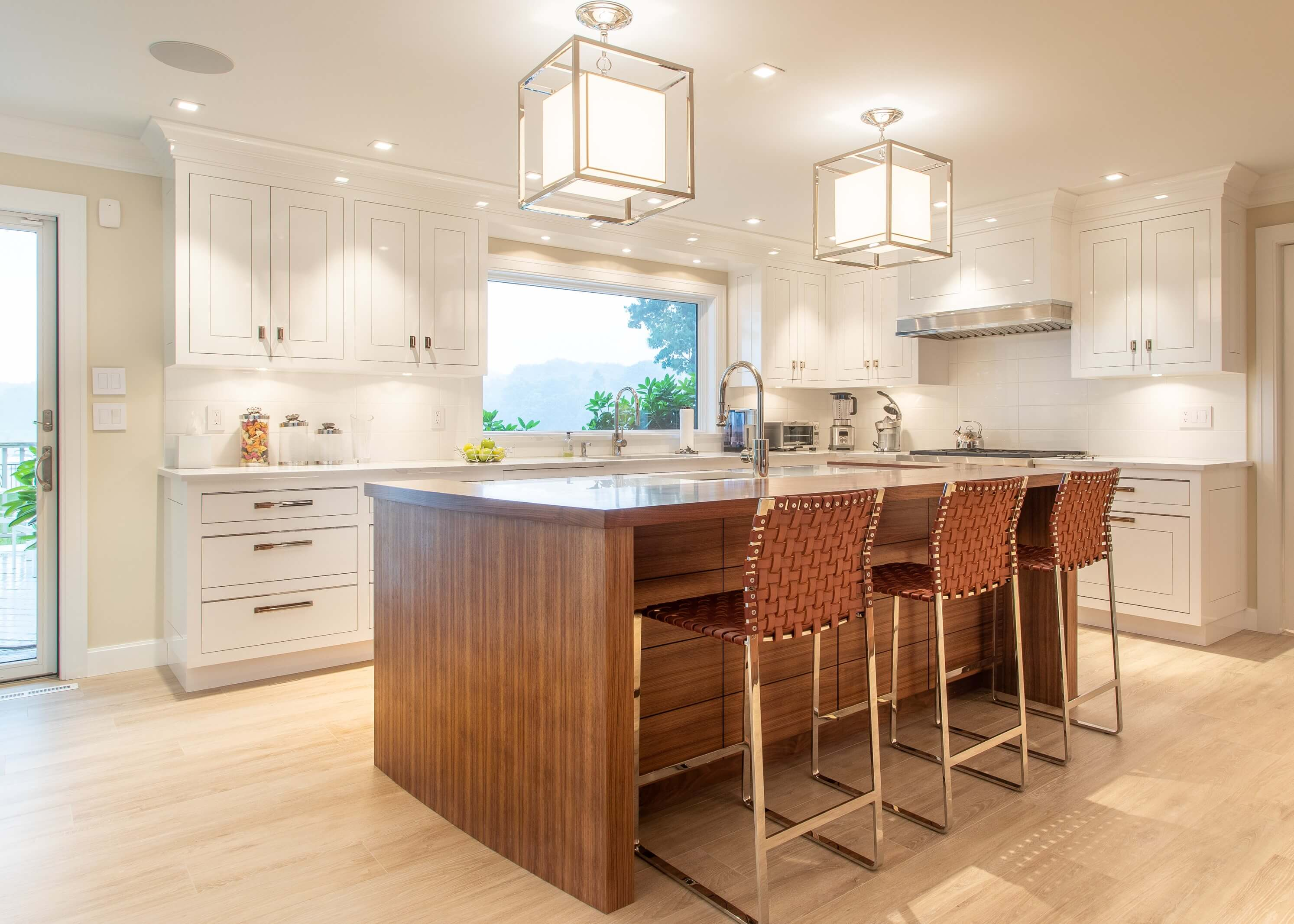 Beautiful Luxury Kitchen, Waterfall walnut counter top with hand painted white cabinets